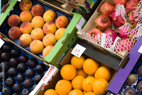 Different fruits in boxes
