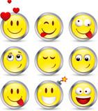 Lot de 9 smileys avec contour en métal poster
