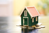 Miniature green house on coins base poster