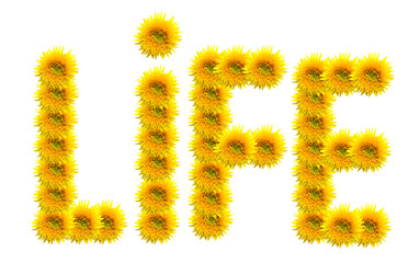 Composited sunflowers depicting the word life