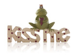 A Valentines Kiss Me Sign with frog over white