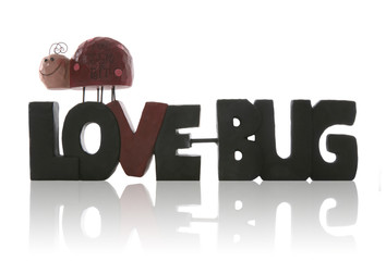 A Valentines themed love bug sign over white
