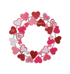 A Valentines Heart Wreath isolated over a white background