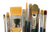 old paintbrushes on a white background poster