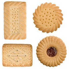 Four assorted tea time biscuits isolated on a white background