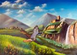 Imaginary landscape. Illustration hand painted on canvas.