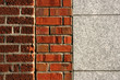 Connection of three walls: two types of brick wall