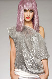 beautiful girl dressed for carnival wearing glossy pink wig  poster
