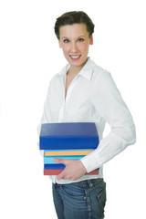 Happy adult student holding a few books