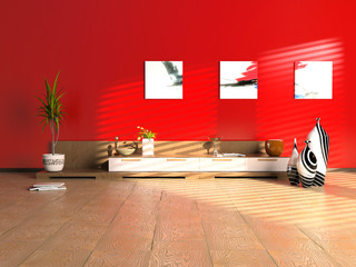 modern interior design (3D cjmputer generated image)