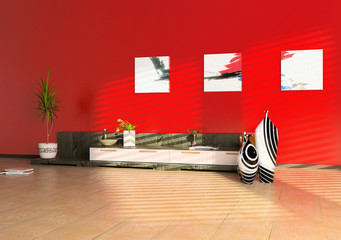 modern interior design (3D cjmputer generated image)