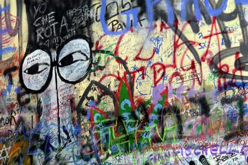 famous graffitti of jonh lenon in prague