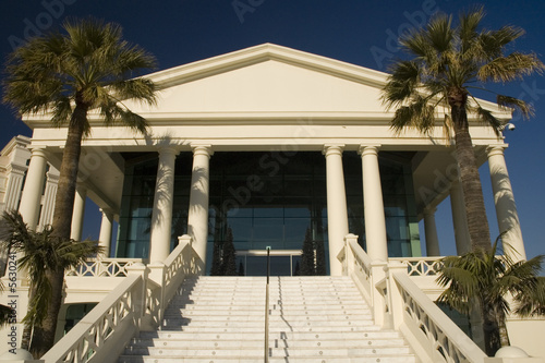 Mediterranean neo-classic building with palms on the sides