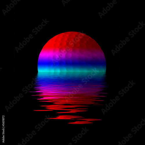 Abstract illustration showing golf ball overlaid with ripples