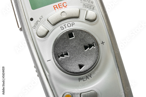 Macro of digital dictaphone, isolated on white background