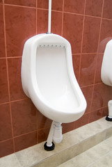 White urinal against red tiled wall