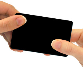 Hands exchanging a blank card - gift, business, or credit card
