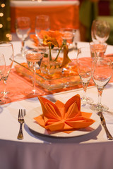 Elegant place setting with red heart
