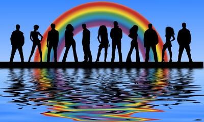 regenbogen am wasser