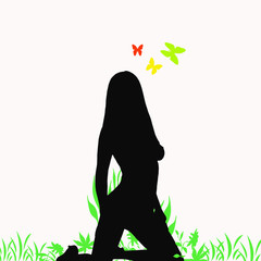Lovely sexy girl green background