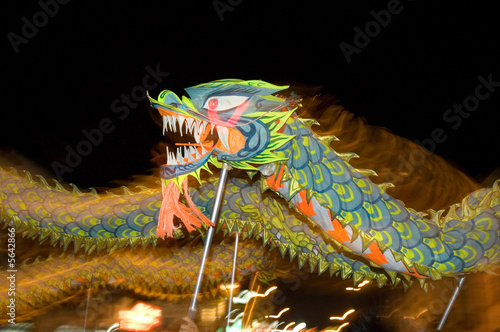 chinese traditional dragon dance perform in night