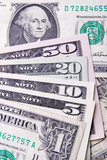 USA currency - various banknotes, dollars poster