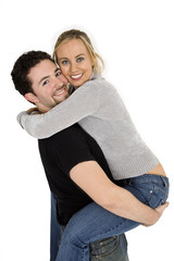 Studio photograph of young Caucasian couple