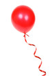 Red balloon with ribbon isolated on white background