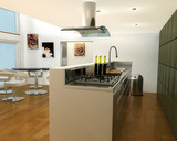 3D render of an interior of a contemporary kitchen