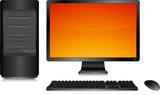 Ordinateur de bureau noir, clavier et souris sans fil poster