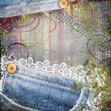 background from jeans and lace for scrapbook poster