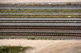 Array of parallel railway tracks in Canada poster
