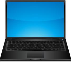 Ordinateur portable noir avec clavier très détaillé