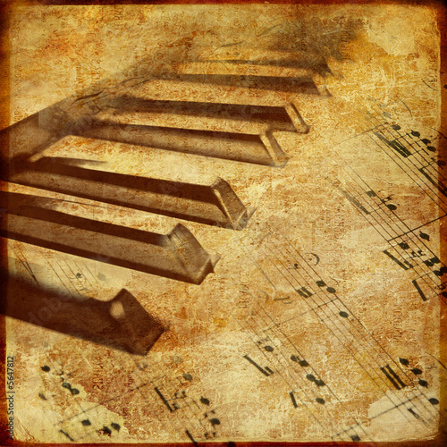 canvas print picture old piano - musical background