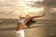 Meditazione in spiaggia d'inverno