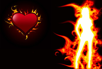 Hot girl and ardent heart
