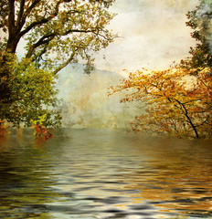 golden lake - beautiful picture in painting style
