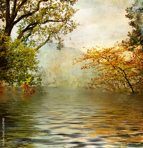 Obraz golden lake - beautiful picture in painting style