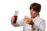 young lady scientist pours liquid poster