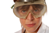 young lady technician in safety goggles poster