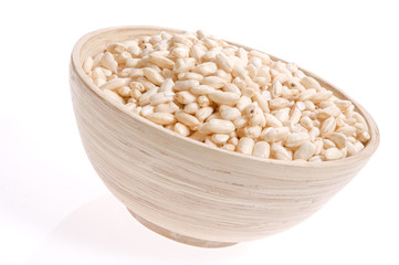 bowl of rice isolated on the white backgound