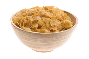 bowl of corn flakes isolated on the white backgound