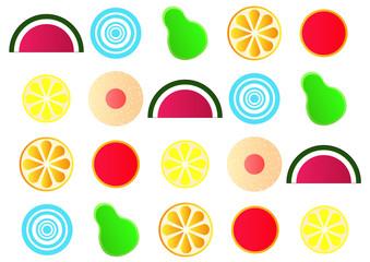 stylised japanese fruit jelly gum shapes