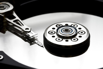opened hard disk drive closeup
