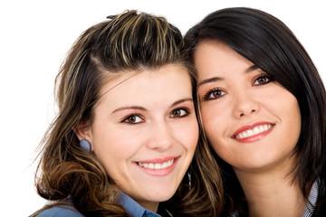 beautiful female friends isolated over a white background