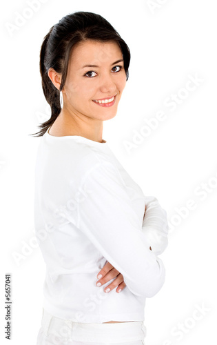 beautiful girl portrait smiling in white clothes
