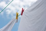 Washed clothes drying on a rope in the garden poster