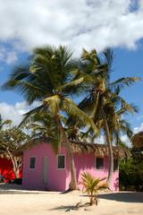 case colorate sulla spaiggia bianca dell`isola di Santo Domingo