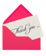 pink envelope with a thank you card isolated on white