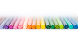 colored felt pens with white background poster